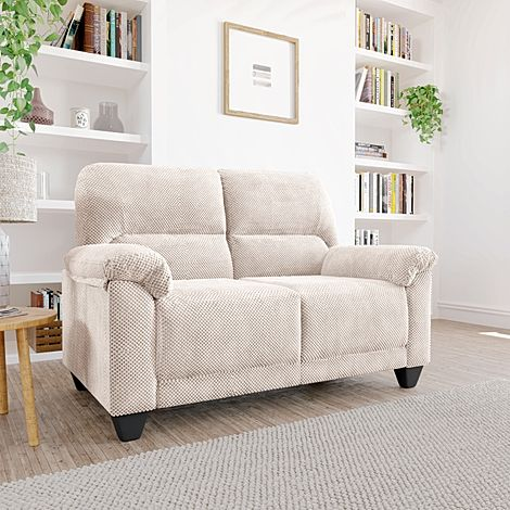 Kenton Small Natural Dotted Cord Fabric 2 Seater Sofa