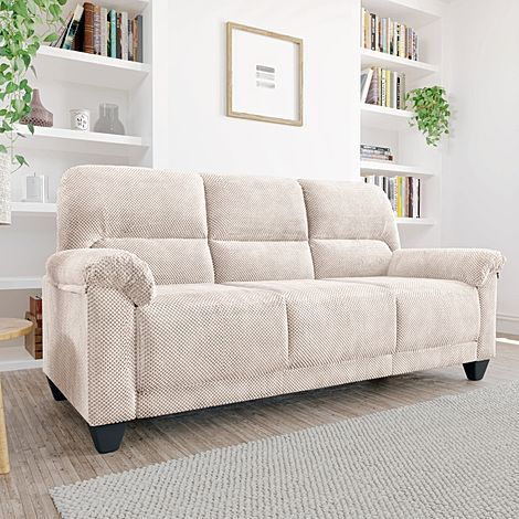 Kenton Small Natural Dotted Cord Fabric 3 Seater Sofa