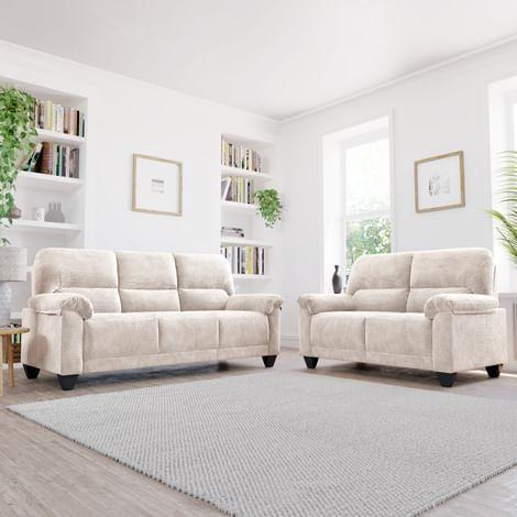 Kenton Small Natural Dotted Cord Fabric 3+2 Seater Sofa Set