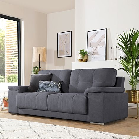 Kansas Slate Grey Plush Fabric 3 Seater Sofa