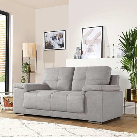 Kansas Light Grey Fabric 2 Seater Sofa