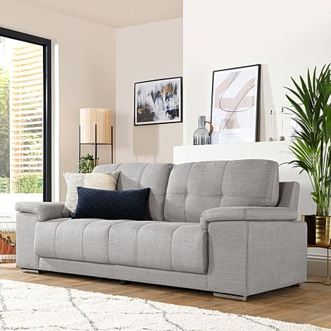Kansas Light Grey Fabric 3 Seater Sofa