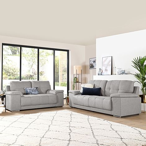 Kansas Light Grey Fabric 3+2 Seater Sofa Set