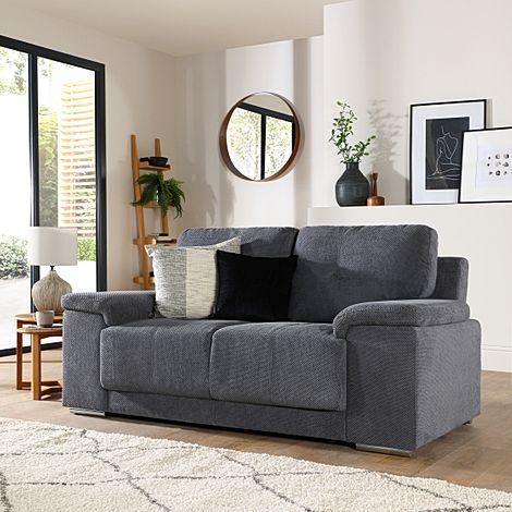 Kansas Dark Grey Dotted Cord Fabric 2 Seater Sofa