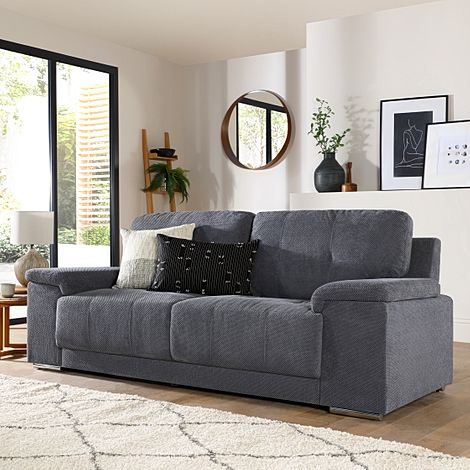 Kansas Dark Grey Dotted Cord Fabric 3 Seater Sofa