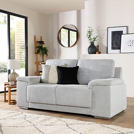 Kansas Light Grey Dotted Cord Fabric 2 Seater Sofa