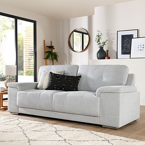 Kansas Light Grey Dotted Cord Fabric 3 Seater Sofa