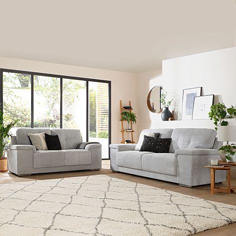 Kansas Light Grey Dotted Cord Fabric 3+2 Seater Sofa Set