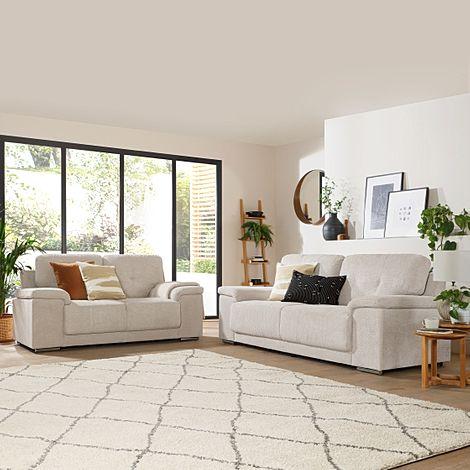 Kansas Natural Dotted Cord Fabric 3+2 Seater Sofa Set