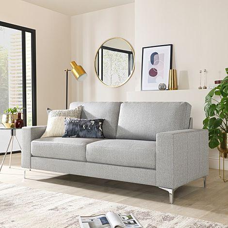 Baltimore Light Grey Fabric 3 Seater Sofa