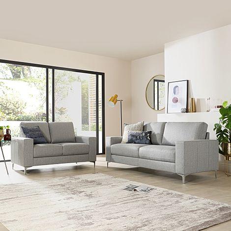 Baltimore Light Grey Fabric 3+2 Seater Sofa Set