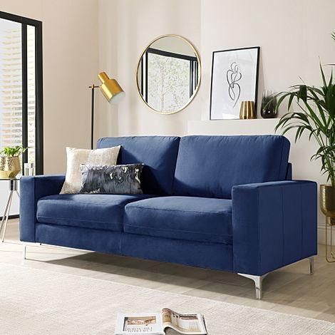 Baltimore Blue Velvet 3 Seater Sofa