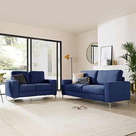 Baltimore Blue Velvet 3+2 Seater Sofa Set