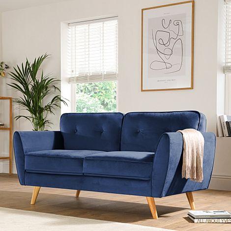 Harlow Blue Velvet 2 Seater Sofa