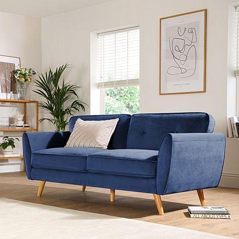 Harlow Blue Velvet 3 Seater Sofa