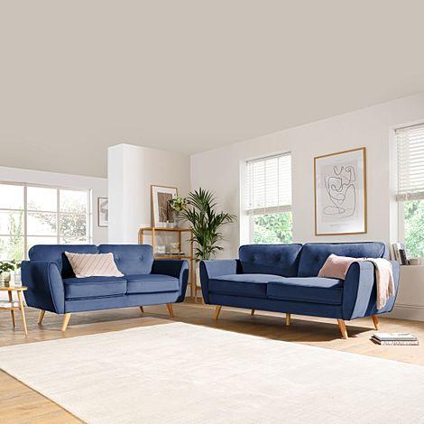 Harlow Blue Velvet 3+2 Seater Sofa Set