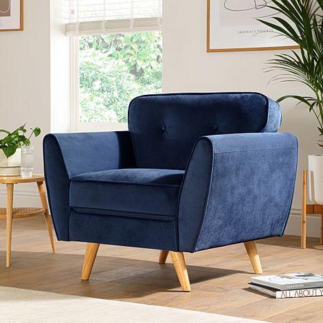 Harlow Blue Velvet Armchair