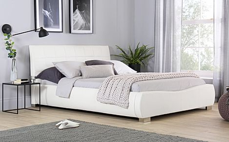 Dorado White Leather Double Bed