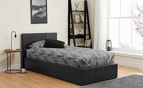 Munich Black Leather Single Ottoman Bed