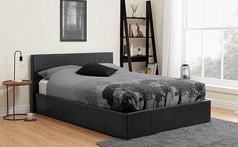 Munich Black Leather Double Ottoman Bed