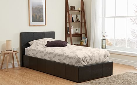 Munich Brown Leather Single Ottoman Bed