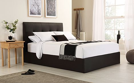 Caversham Black Leather Ottoman Storage Bed - Double