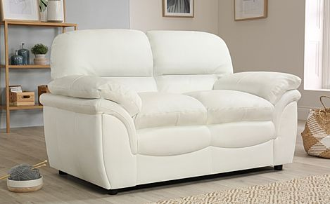 Marvelous Rochester Ivory Leather 2 Seater Sofa