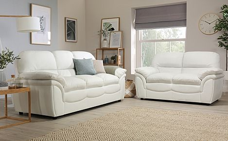 Rochester Ivory Leather 3+2 Seater Sofa Set