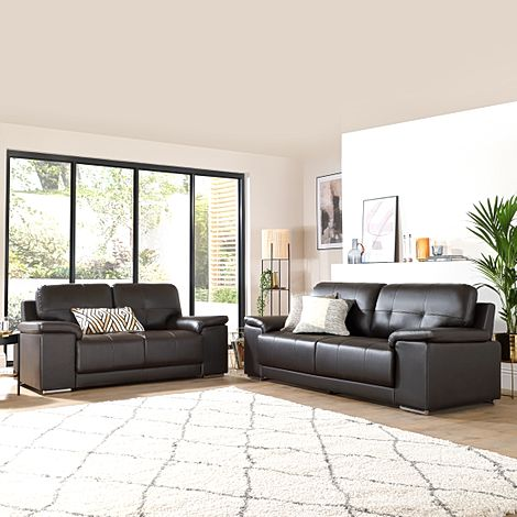 Kansas Brown Leather 3+2 Seater Sofa Set