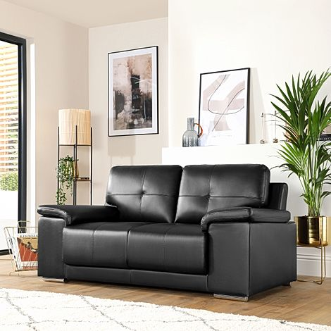 Kansas Black Leather 2 Seater Sofa