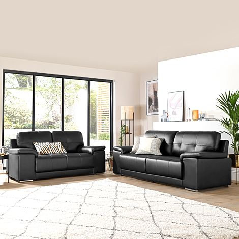 Kansas Black Leather 3+2 Seater Sofa Set