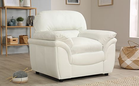 Rochester Ivory Leather Armchair