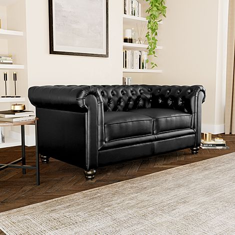 Hampton Black Leather 2 Seater Chesterfield Sofa