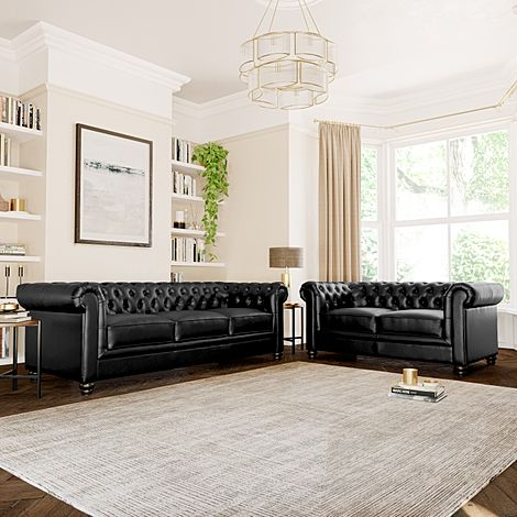 Hampton Black Leather 3+2 Seater Chesterfield Sofa Set