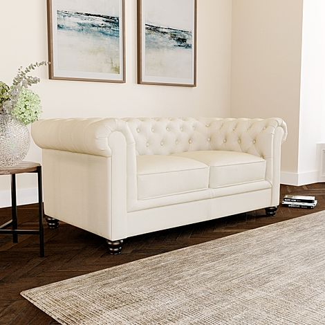 Hampton Ivory Leather 2 Seater Chesterfield Sofa