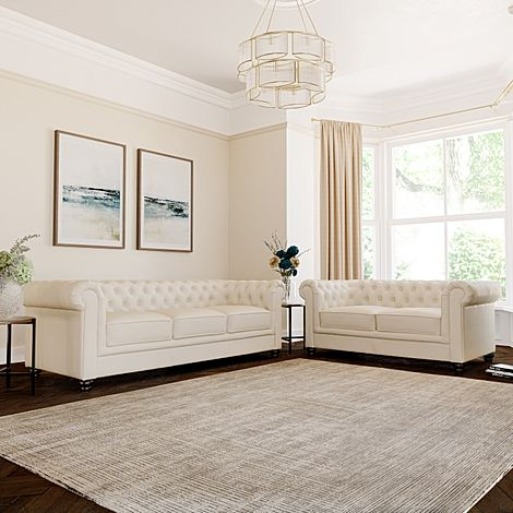 Hampton Leather Chesterfield Sofa Suite 3+2 Seater (Ivory)