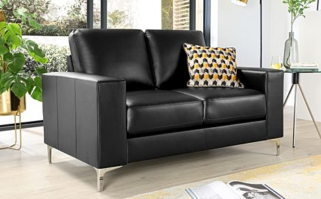 Baltimore 2 Seater Leather Sofa - Black