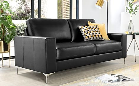 Baltimore Black Leather 3 Seater Sofa
