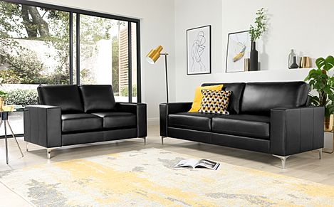 Baltimore Leather Sofa Suite 3+2 Seater - Black