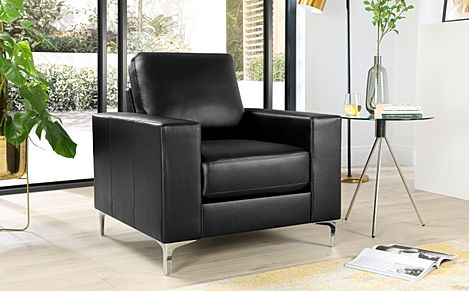 Baltimore Black Leather Armchair