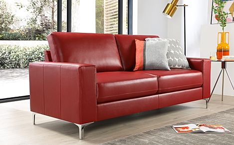 Baltimore 3 Seater Leather Sofa - Red
