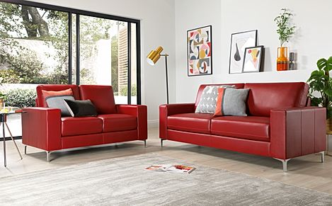 Baltimore Leather Sofa Suite 3+2 Seater - Red