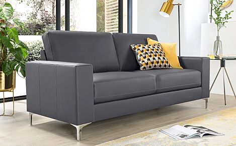 Superb Baltimore 3 Seater Leather Sofa   Grey
