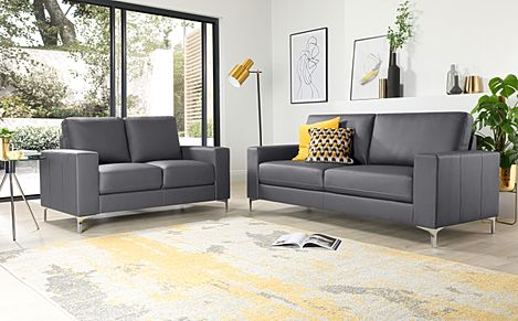 Baltimore Grey Leather 3+2 Seater Sofa Set