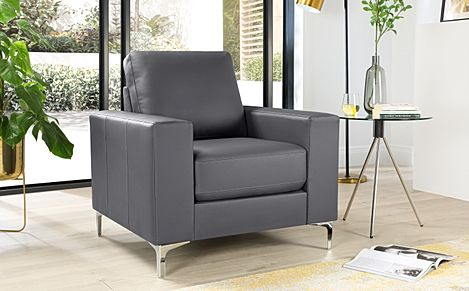 Baltimore Grey Leather Armchair