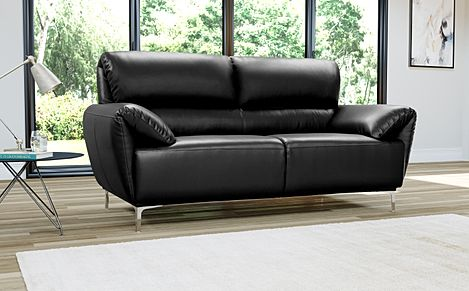 Enzo Black Leather Sofa 2 Seater