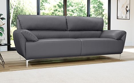 Enzo Grey Leather 3 Seater Sofa
