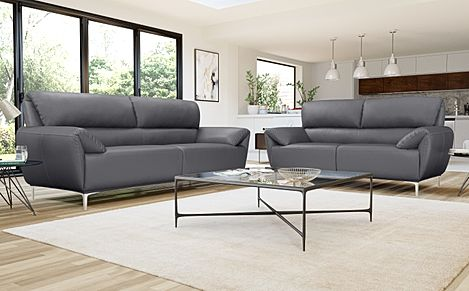 Enzo Grey Leather Sofa 3+2 Seater