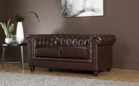Hampton Antique Chestnut Leather 2 Seater Chesterfield Sofa