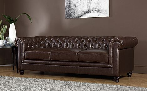 Hampton Antique Chestnut Leather 3 Seater Chesterfield Sofa